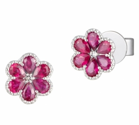 Ruby and Diamond Flower Earrings with Milgrain Setting in 18ct White Gold