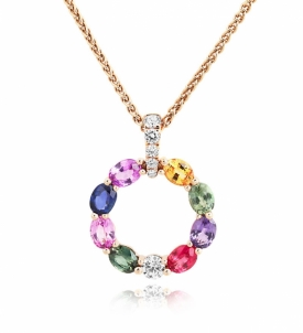 Multi-Coloured Sapphire Flower Pendant with diamonds in 18ct Rose Gold