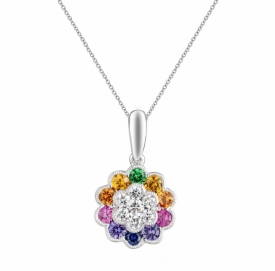 Multi-Coloured Sapphire Flower Pendant 1.71ct