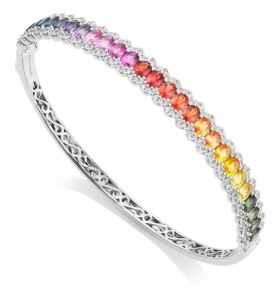 Multi-Coloured Oval Sapphire and Diamond Bangle