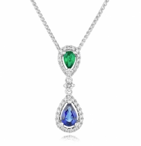 Emerald, Sapphire and Diamond Reflection Pendant with Vintage styling