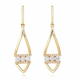 Diamond Banded Leaf Earrings