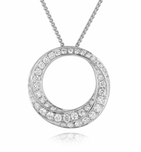 Pave Diamond Spiralled Circle Pendant in 18ct White Gold