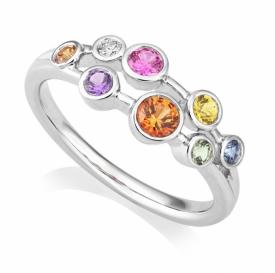 Platinum Multi-Sapphire and Diamond Raindrop Ring