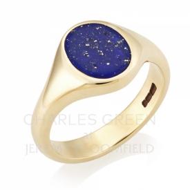 Lapis Lazuli Signet Ring in 9ct Yellow Gold