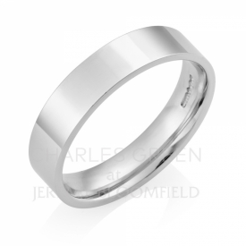 Medium Flat Court 5mm Platinum Wedding Ring