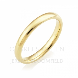 Medium Court 2.5mm 18ct Yellow Gold Wedding Ring handmade