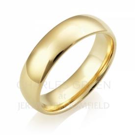Medium Court 6mm 18ct Yellow Gold Wedding Ring handmade
