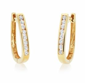 Channel Set Diamond Quarter Hoop Earrings 0.16ct
