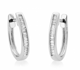 Diamond Baguettini Quarter Hoop Earrings 0.17ct hinged