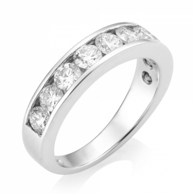 Round Brilliant Diamond Half Eternity Channel Set Ring in Platinum with 1.5ct