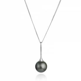 Black Tahitian Pearl 18ct White Gold Stemmed Pendant