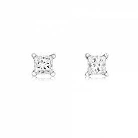 18ct White Gold Princess Cut Diamond earrings 0.28ct