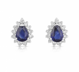 Pear Shaped Sapphire Earrings 1.69ct with GVS Diamonds set in a star halo