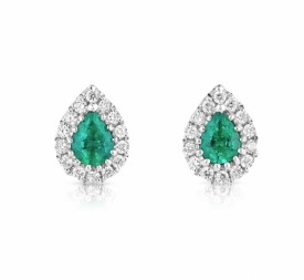 Pear Shaped Emerald 0.23ct and GVS Diamond Earrings