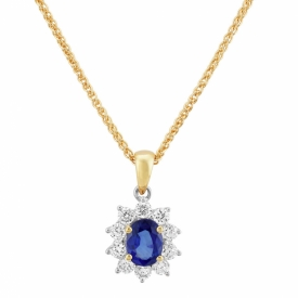 Vintage Style Oval Sapphire Star-Halo Pendant 0.62ct