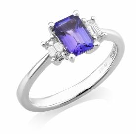 Tanzanite Ring 0.96ct with emerald cut diamonds 0.28ct G VS