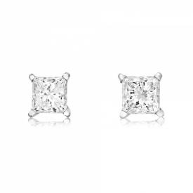18ct White Gold Princess Cut Diamond earrings 0.82ct