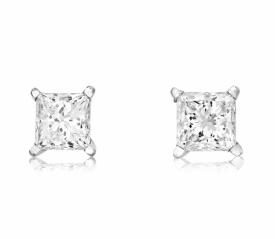18ct White Gold Princess Cut Diamond earrings 1.02ct