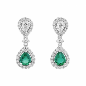 Pear Shaped Emerald 0.42ct and Diamond Reflection Earrings