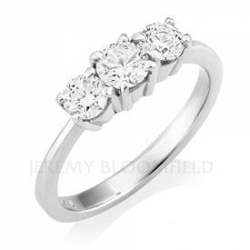 Tapered Platinum 3 Stone Diamond Ring 0.75ct GVS