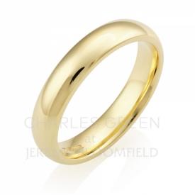 Medium Court 4mm Gents 18ct Yellow Gold Wedding Ring