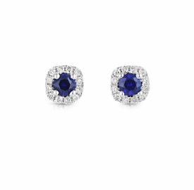 Petite Blue Sapphire and Diamond Round Earrings 0.16ct