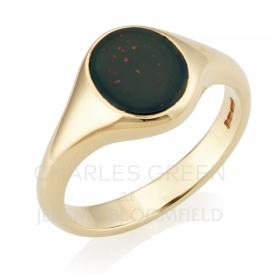Bloodstone Signet Ring in 9ct Yellow Gold