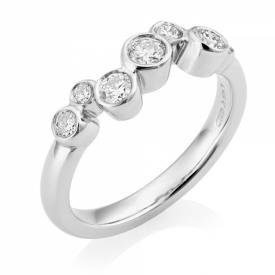 Platinum G VS Round Brilliant Diamond Bubble Ring 0.50ct