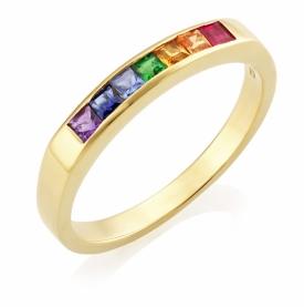 Multi-coloured Gemstone 7 Stone Ring 1.28ct