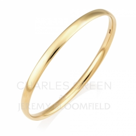 Handmade 9ct Yellow Gold Solid Court Shaped Bangle 5mm