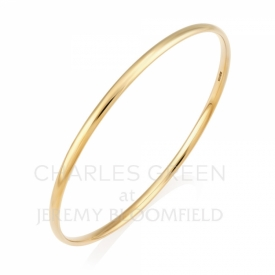 Handmade 9ct Yellow Gold Solid Court Shaped Bangle 3mm