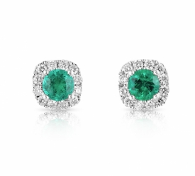 Round Emerald 0.23ct and G VS Diamond Earrings