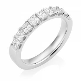 Platinum Asscher Cut Diamond Half-Eternity Ring 1.08ct