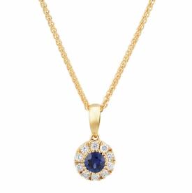 Pretty Round Sapphire Pendant 0.23ct with GVS Diamonds