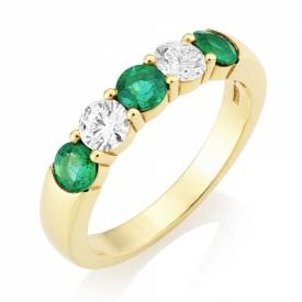 Emerald 0.62ct and GVS Diamond Five Stone Ring i