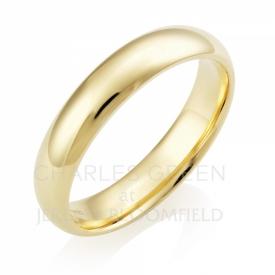 Medium Court 5mm 18ct Yellow Gold Wedding Ring handmade