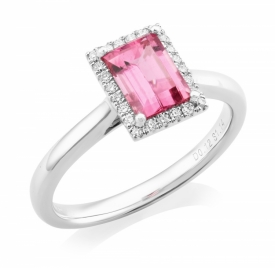 Pink Sapphire and Diamond Ring in Platinum 1.14ct