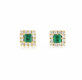 Square 18ct Diamond Emerald Earrings 0.19ct