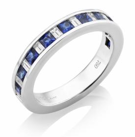 Diamond and Sapphire 1.01ct Channel Set Half Eternity Ring