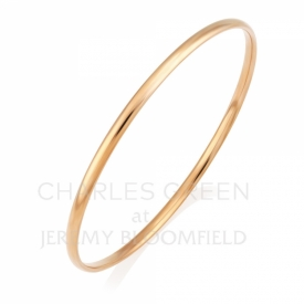 Handmade 9ct Rose Gold Solid Court Shaped Bangle 3mm
