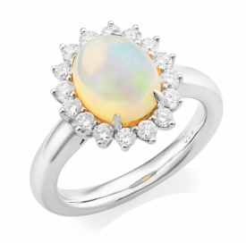 Ethiopian Cabochon Opal and Diamond Ring  1.28ct