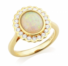 Ethiopian Opal and Diamond Ring 1.58ct
