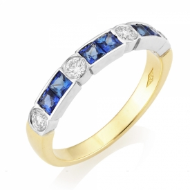 Art Deco Style Sapphire 0.67ct and GVS Diamond Ring
