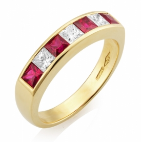 Diamond and Ruby Channel Set 7 stone Eternity Ring 0.75ct