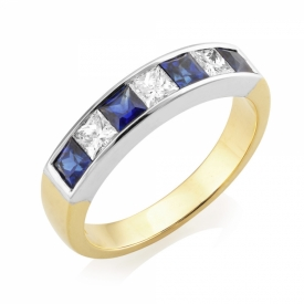 Diamond and Sapphire Channel Set 7 stone Eternity Ring