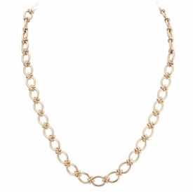 9ct Handmade Chain Necklace, with Oval links individually joined