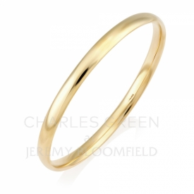 Handmade 9ct Yellow Gold Solid Court Shaped Bangle 4mm