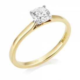 Classic Set Round Brilliant Solitaire Ring 0.50ct F SI1 GIA