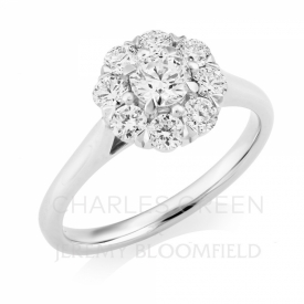 Platinum Halo Ring 1.05ct